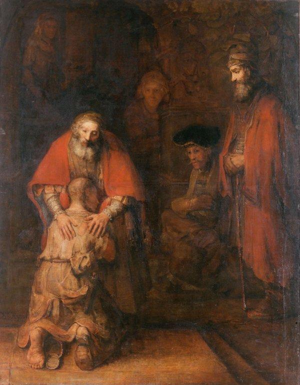 """Tela de Rembrandt - na capa do livro """"A volta do Filho Pródigo"""", de Henri Nouwen"""